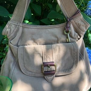 Fossil Shoulder Messenger Bag Tan/ Leather Accents